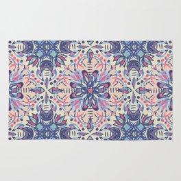 Protea Pattern in Blue, Cream & Coral Rug