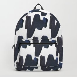 Navy blue black abstract watercolor zigzag brushstrokes pattern Backpack