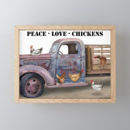 Peace Love Chickens Stencil Font Framed Mini Art Print