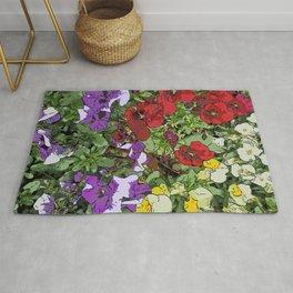 Red Purple Yellow Flowers by Daniel MacGregor Rug