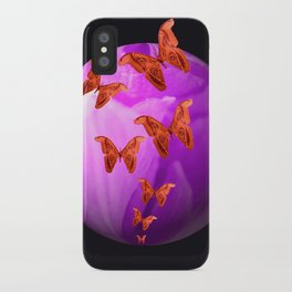 Violet Flower Bud With Apollo Butterflies Illustration On A Black Background #decor #society6 iPhone Case