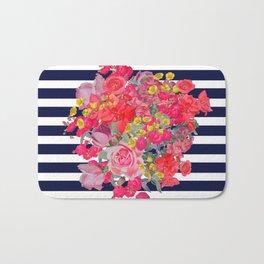 Vintage Floral Burst Print with Navy Stripes Bath Mat