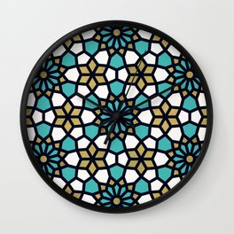 Persian Mosaic – Turquoise & Gold Palette Wall Clock