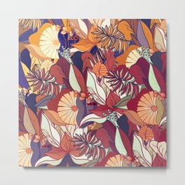 love of autumn - floral pattern Metal Print