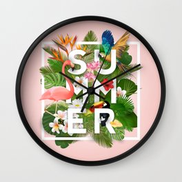 Summer Parrots Wall Clock