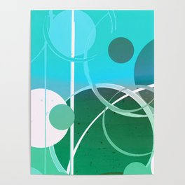 Turquoise Green Ombré Circle Abstract Design 2 Poster