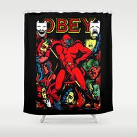 obey Shower Curtains featuring OBEY! by sasha alexandre keen