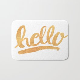 Hello Hand lettering - white and gold Bath Mat