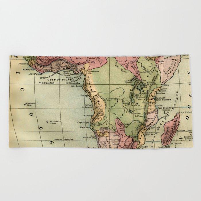 Vintage Africa Map Beach Towel