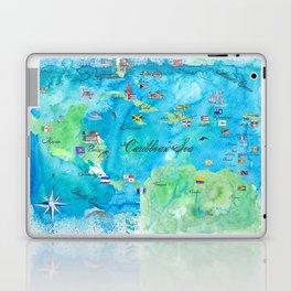Caribbean Cruise Travel Poster Map Antilles West Indies Cuba Florida Laptop & iPad Skin