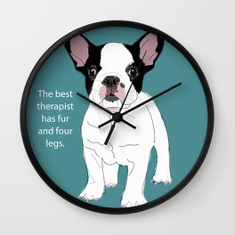 French Bulldog Therapy Wall Clock