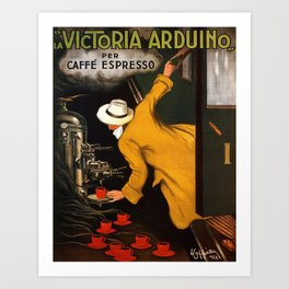 Coffee Vintage Poster-La Victoria Arduino Caffe Expresso Italy - Advertising / Coffee Vintage Poster Art Print