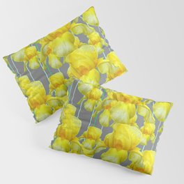 OODLES OF YELLOW IRIS GREY GARDEN ART Pillow Sham