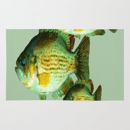 DEEP SEA FISHING GRAPHIC POSTER ART Rug