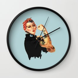 Tattooed Rosie the Riveter Wall Clock