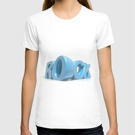 Rock written in blue letters on white background T-shirt