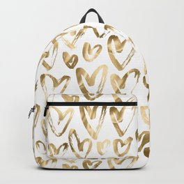 Gold Love Hearts Pattern on White Backpack