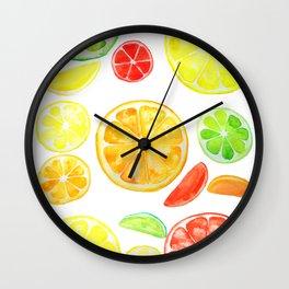colorful citrus fruit watercolor Wall Clock