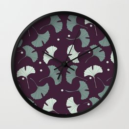 Blue gingko biloba Wall Clock