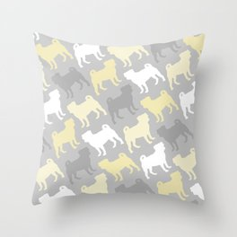 Grey and Yellow Pugs Pattern Throw Pillow
