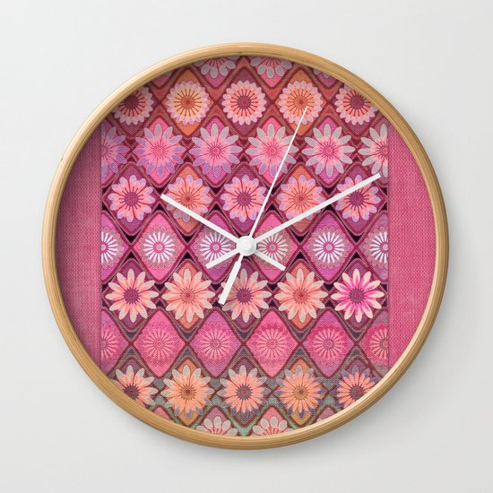 Daisy Pinks Wall Clock