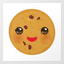 Kawaii Chocolate chip cookie Art Print