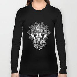 Mens Black Ganesh Elephant God Line Art Meditation India Zen Hobo Yoga t-shirts Long Sleeve T-shirt