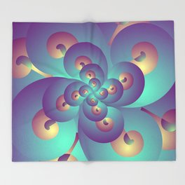 Turquoise and Gold Fractal, Abstract Psychedelic Pattern, Stoner Gift Throw Blanket