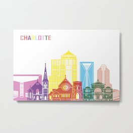 Charlotte skyline pop Metal Print