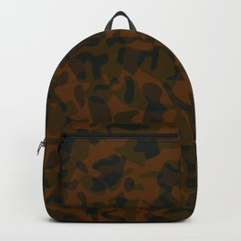 Spotted brown blots on a dark military. Backpack