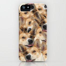 Puzzle psychedelic dog corgi spitz shiba inu collage funny joyful original tongue licks iPhone Case