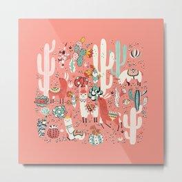 Lama in cactus jungles Metal Print