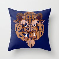 beast Throw Pillows featuring beast by Rebecca McGoran