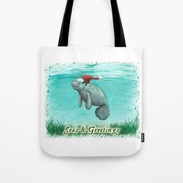 "Seas and Greetings ~ ""Mossy Manatee"" by Amber Marine ~ Watercolor ~ (Copyright 2016) Tote Bag"