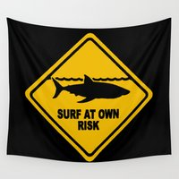 surfboard Wall Tapestries featuring Yellow Shark Warning Sign Surf At Own Risk Surfboard by Rothko