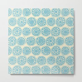 flower block blue ivory Metal Print