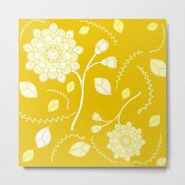 Flying Flowers in yellow Metal Print