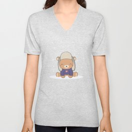 Kawaii Cute Winter Bear Unisex V-Neck