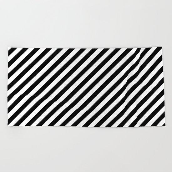 Diagonal Stripes (Black/White) Beach Towel