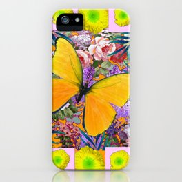 GOLDEN-YELLOW POPPIES  FLOWER BUTTERFLIES FLORAL iPhone Case