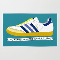 tenenbaum Area & Throw Rugs featuring I've Always Wanted to be a Zissou - The Life Aquatic by SleepyMountain