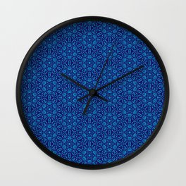 Aqua on Blue Batik Organic Pattern Wall Clock