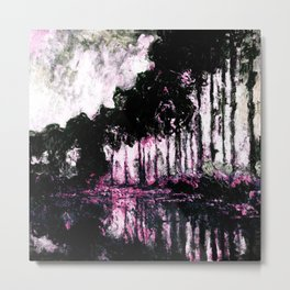 Monet Poplars on the Banks of the River Epte Pink Dark Metal Print
