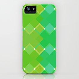 Green Criss-Cross Squares Geometric Digital Pattern iPhone Case