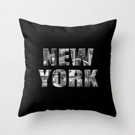New York (black & white photo type on black) Throw Pillow