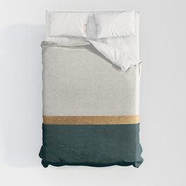 Deep Green, Gold and White Color Block Duvet Cover