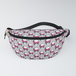 Skull and Roses | Skull and Flowers | Vintage Skull | Grey and Pink | Fanny Pack