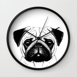 Black White Pug Pencil Sketch Wall Clock
