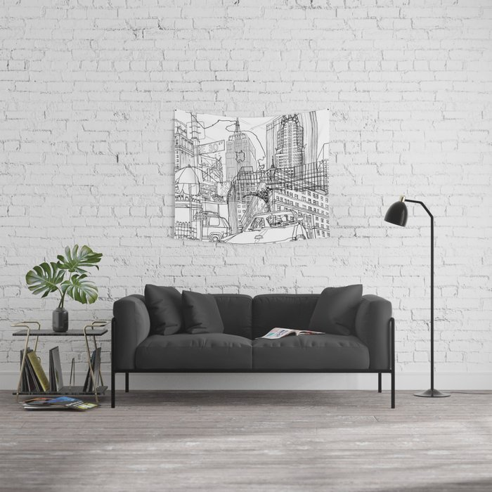New York! B&W Wall Tapestry