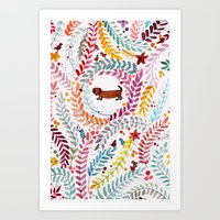 teckel love Art Print